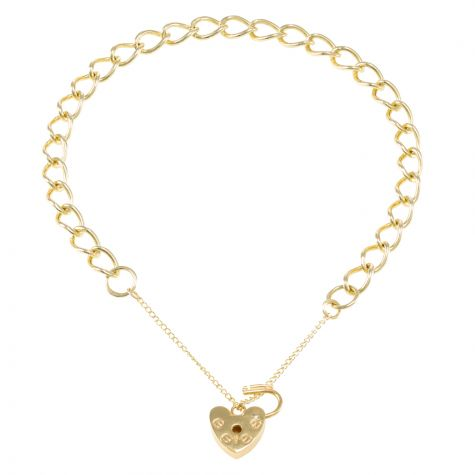 9ct Yellow gold Open Link Curb charm Bracelet - 5.5mm - Ladies