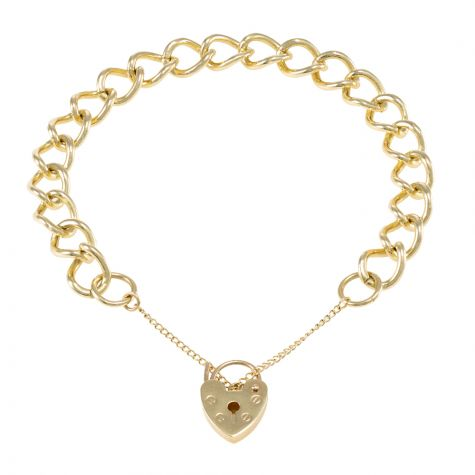 9ct Yellow gold Tight Link Curb charm Bracelet - 9mm - Ladies