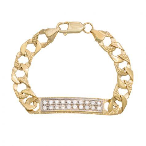 "9ct Yellow Gold Solid Square Curb Gem-Set Bracelet  - 6"" - Babies"
