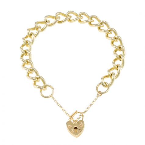 9ct Yellow gold Tight Link Curb charm Bracelet - 9.5mm - Ladies