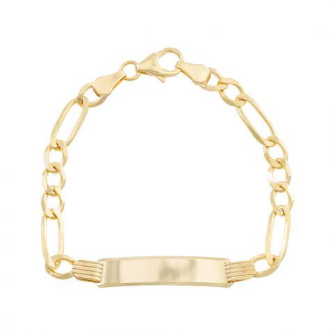 "9ct Yellow Gold Figaro Design ID Bracelet - 5mm - 6"" - Babies"