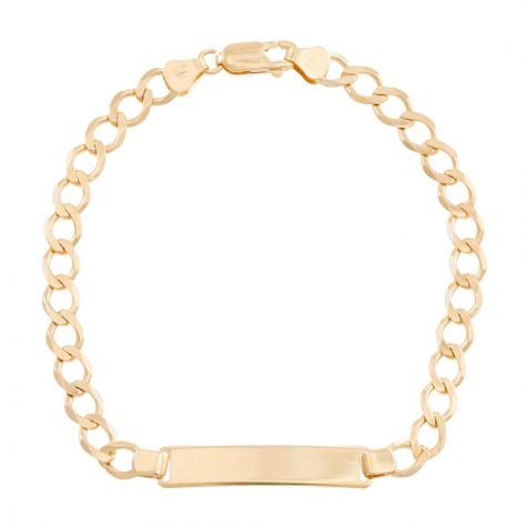 """9ct Yellow Gold Solid Identity Curb Bracelet  - 6mm - 7"""" - Ladies"""
