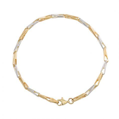 "9ct Yellow & White Gold Fancy Link Bracelet - 3mm - 7"" - Ladies"