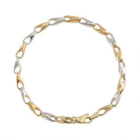 "9ct Yellow & White Gold Fancy Link Bracelet - 4.5mm - 7"" - Ladies"