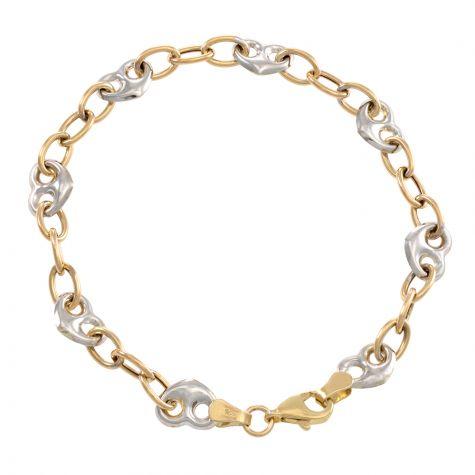 "9ct Yellow & White Gold Heart Design Bracelet - 7.5mm -7"" -Ladies"
