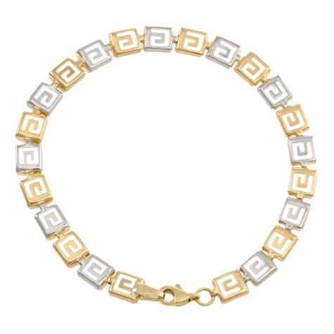 "9ct Yellow & White Gold Greek Key Bracelet - 6mm - 7"" - Ladies"