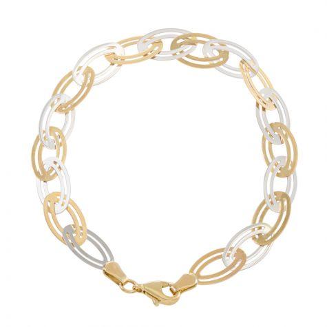 "9ct Yellow & White Gold Oval Link Belcher Bracelet - 7"" - Ladies"