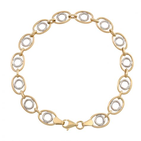 """9ct Yellow & White Gold Fancy Oval Link Bracelet - 7"""" - Ladies"""