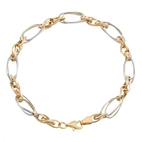 "9ct Yellow & White Gold Fancy Twist Link Bracelet - 7"" - Ladies"