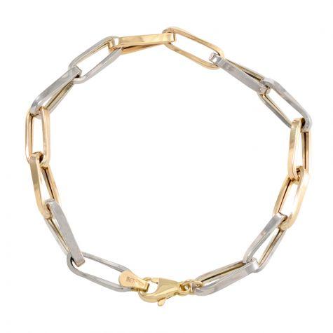 "9ct yellow & White Gold Long Link Bracelet - 5.5mm - 7"" - Ladies"