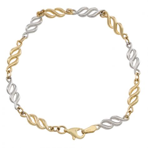 """9ct White & Yellow Gold Fancy Polished Link Bracelet - 7""""- Ladies"""