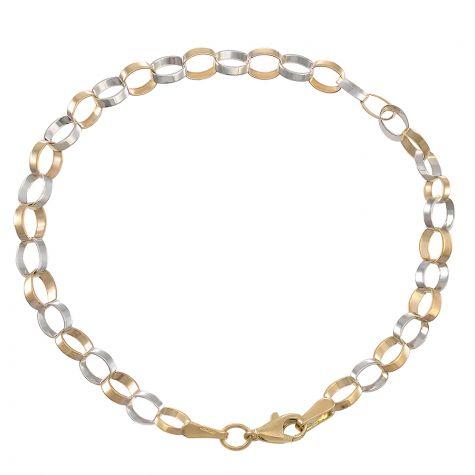 "9ct Yellow & White Gold Flat Link Belcher Bracelet - 7.15"" - Ladies"