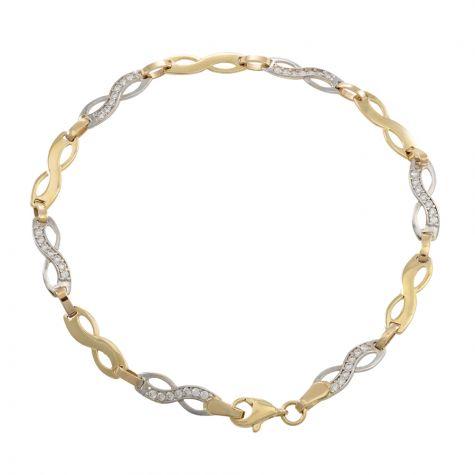 "9ct Yellow & White Gold Gem-set Infinity Bracelet - 7"" - Ladies"