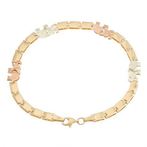 "9ct Yellow, Rose, White Gold Elephant Bracelet - 6mm - 7"" - Ladies"