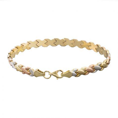 "9ct Yellow, Rose, White Gold Kiss Bracelet - 5.5mm - 7"" - Ladies"
