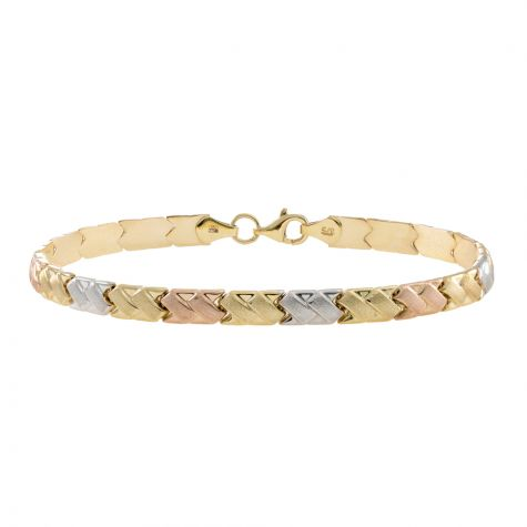 "9ct Yellow, Rose, White Gold Satin Bracelet - 5mm - 7"" - Ladies"