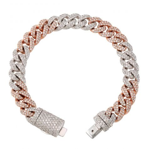 9ct Rose & White Gold 9.76ct Diamond Cuban Bracelet - 11mm - 8.5""