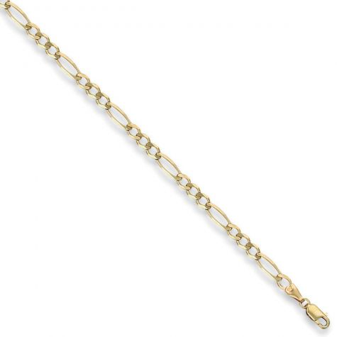 "9ct Yellow Gold Solid Italian Made Figaro Chain - 4.35mm  - 18"""