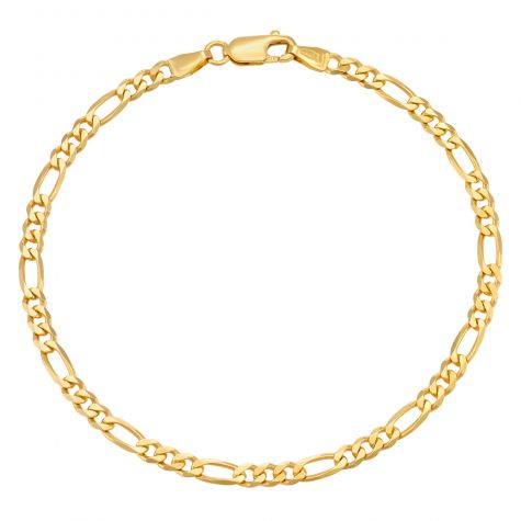 "9ct Yellow Gold Solid Italian Figaro Bracelet- 3.85mm - 8"" -Gents"