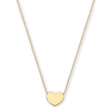 """9ct Yellow Gold Polished Heart Necklace  - 16"""" - 18"""" Adjustable"""