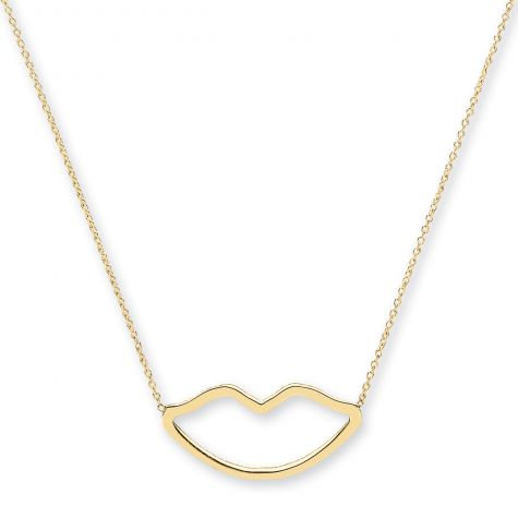 """9ct Yellow Gold Kiss Shape Necklace - 16"""" - 18"""" Adjustable"""