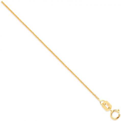 """9ct Yellow Gold Italian Made Spiga / Wheat Chain - 0.8mm - 16"""" - 20"""""""