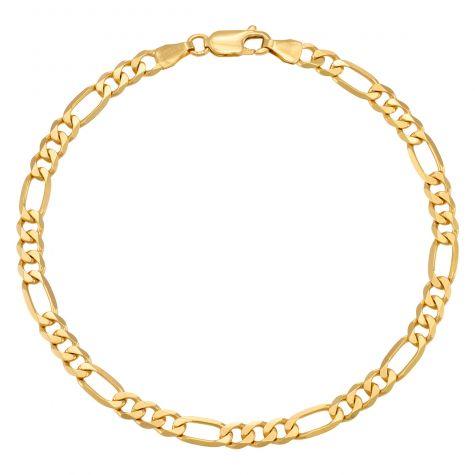 "9ct Yellow Gold Solid Italian Figaro Bracelet - 5mm - 8"" - Gents"