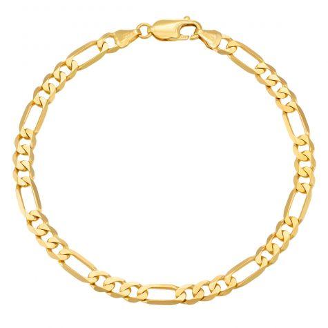 "9ct Yellow Gold Solid Italian Figaro Bracelet- 5.5mm - 8"" - Gents"