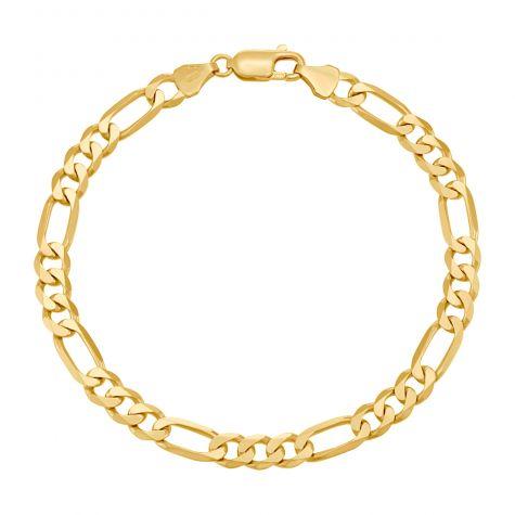 "9ct Yellow Gold Solid Italian Figaro Bracelet- 6.5mm - 8"" - Gents"