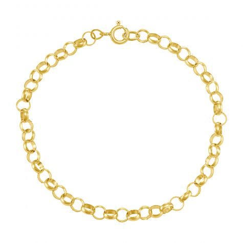 "9ct Yellow Gold Round Link Belcher Bracelet - 5mm - 7"" - Ladies"