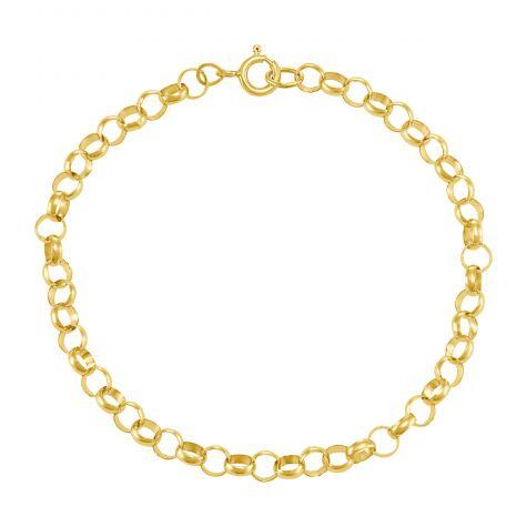 "9ct Yellow Gold Round Link Belcher Bracelet - 5mm - 8"" - Gents"