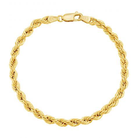 """9ct Yellow Gold Italian Classic Rope Chain - 4.5mm - 7"""" - Ladies"""