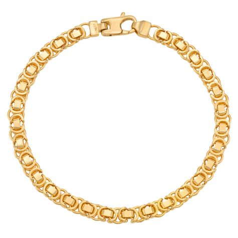 "9ct Yellow Gold Italian Byzantine Bracelet - 5.25mm - 7"" - Ladies"