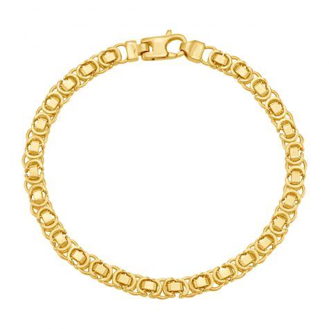 "9ct Yellow Gold Italian Byzantine Bracelet - 5.25mm - 7"" - Ladies"