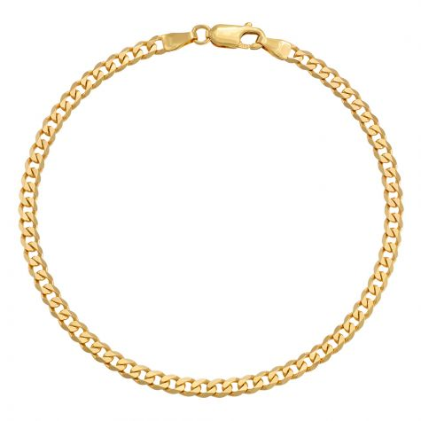 "9ct Yellow Gold Classic Italian Curb Bracelet - 4mm - 7"" - Ladies"