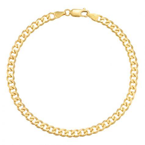 "9ct Yellow Gold Classic Italian Curb Bracelet - 4.75mm - 8"" - Gents"