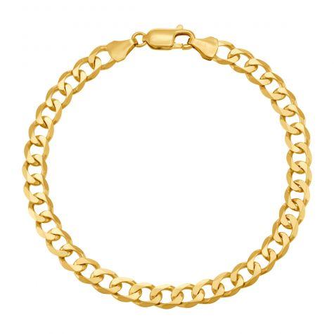 "9ct Yellow Gold Classic Italian Curb Bracelet- 6.4mm - 7"" -Ladies"