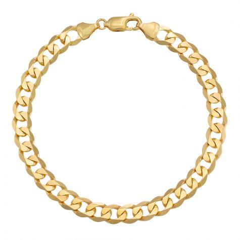 "9ct Yellow Gold Classic Italian Curb Bracelet - 7mm - 7"" - Ladies"