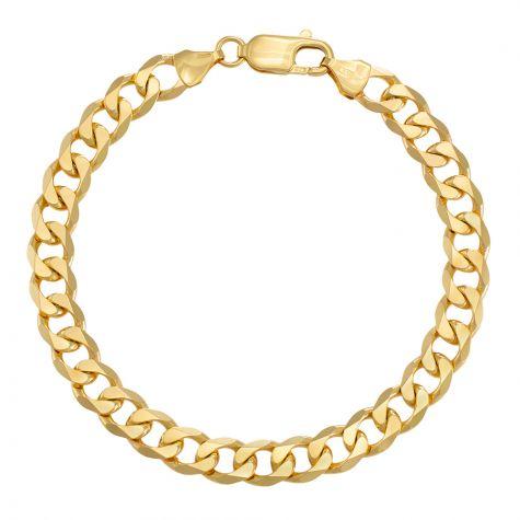 "9ct Yellow Gold Classic Italian Curb Bracelet - 7.75mm - 7"" - Ladies"