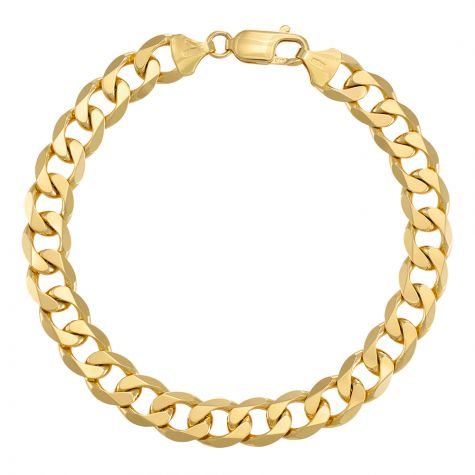 "9ct Yellow Gold Italian Classic Curb bracelet - 9.5mm - 8"" - Gents"