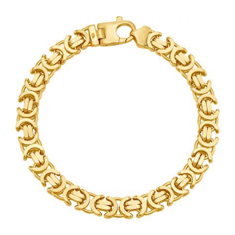"9ct Yellow Gold Italian Byzantine Bracelet - 8.75mm - 8"" - Gents"