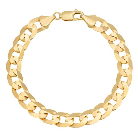 "9ct Yellow Gold Bevelled Edge Curb Bracelet - 10mm - 8"" - Gents"