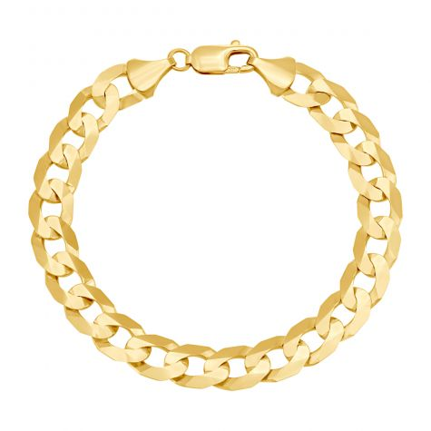 """9ct Yellow Gold Bevelled Edge Curb Bracelet - 10mm - 8"""" - Gents"""