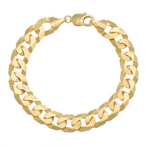"9ct Yellow Gold Italian Flat Curb bracelet - 12mm - 8"" - Gents"