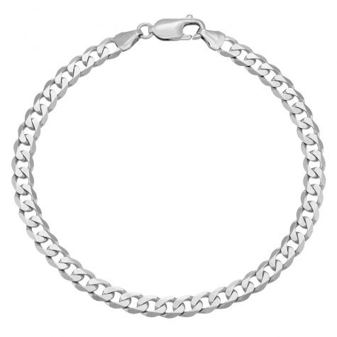 """9ct White Gold Italian Bevelled Curb Bracelet- 5.75mm - 8"""" -Gents"""