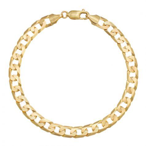 "9ct Yellow Gold Italian Flat Curb bracelet - 6.75mm - 8"" - Gents"