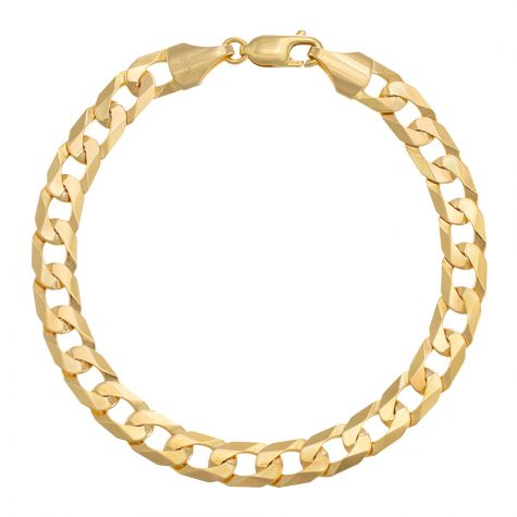 "9ct Yellow Gold Flat Curb bracelet - 7.5mm - 8"" - Gents"