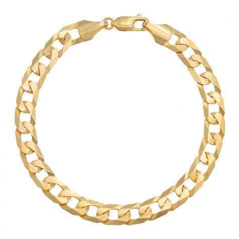 "9ct Yellow Gold Flat Curb bracelet - 7.5mm - 7"" - Ladies"