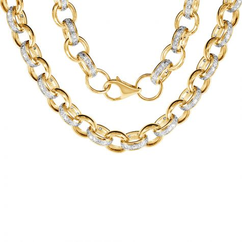 """9ct Yellow Gold Solid Gem-set Oval Belcher Chain - 10mm - 22"""""""