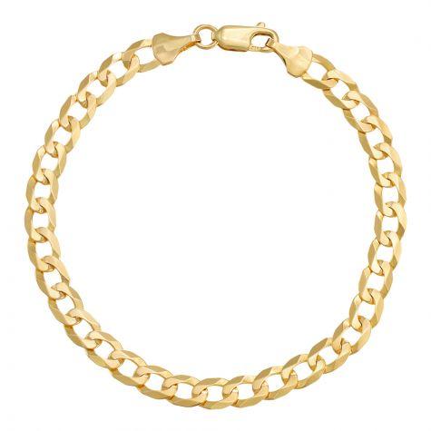 "9ct Yellow Gold Italian Flat Curb bracelet - 5.5mm - 7"" - Ladies"